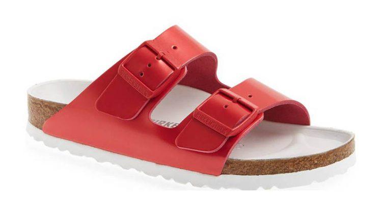 Birkenstock 'Arizona Hex' Shock Drop Slide Sandal in Red Leather $184.95