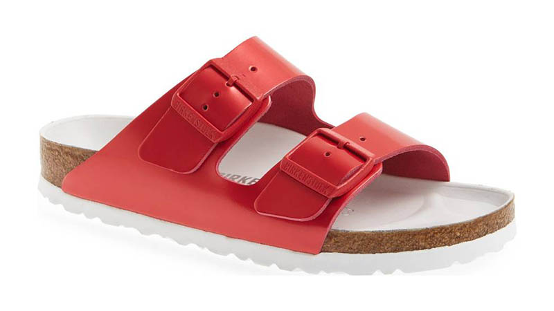 Birkenstock 'Arizona Hex' Shock Drop Slide Sandal in Red Leather $184.95