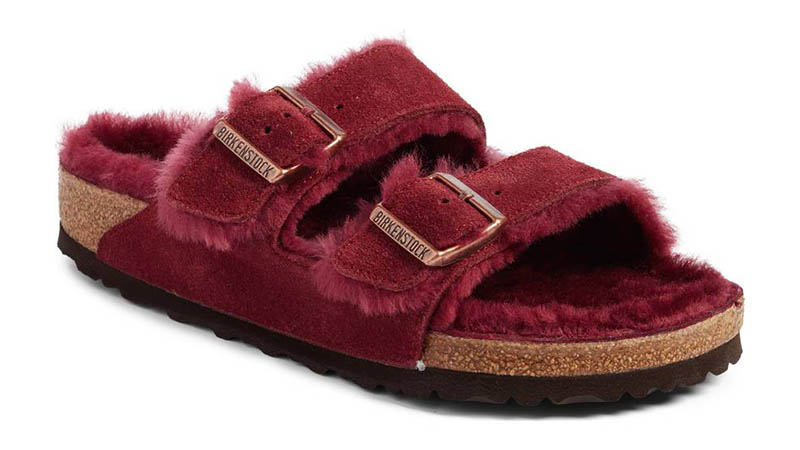 Birkenstock Arizona Shearling Lined Slide Sandal in Bordeaux $145