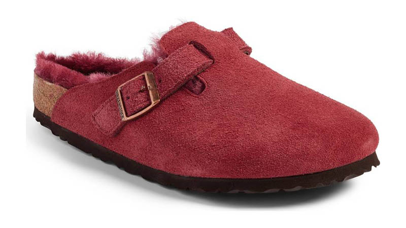 Birkenstock Boston Shearling Lined Clog in Bordeaux $165