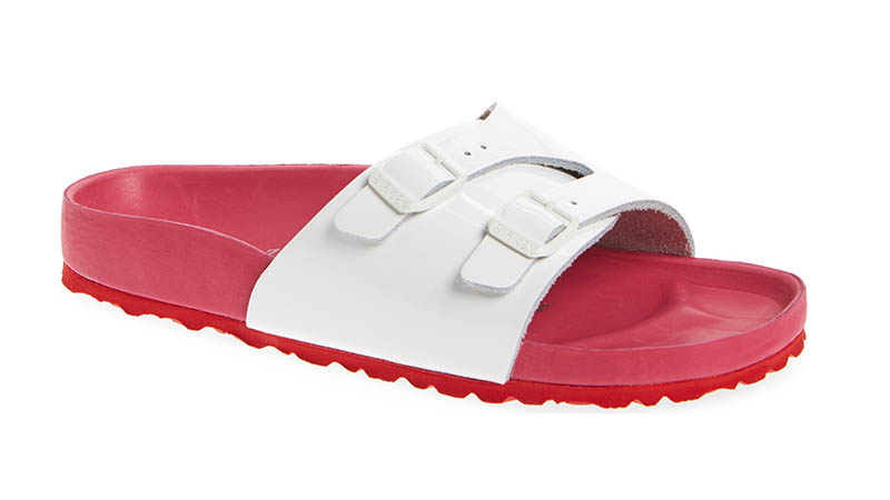 Birkenstock Vaduz Exquisite Shock Drop Sandal in White/Red $184.95