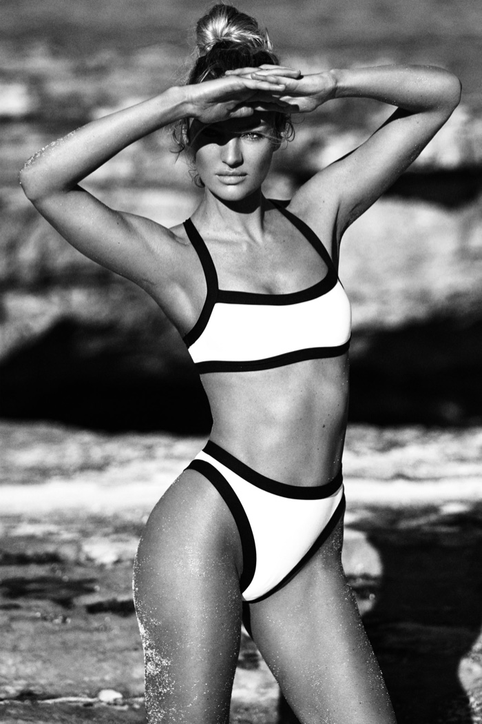Wearing the Volley bikini set, Candice Swanepoel models Tropic of C swimwear