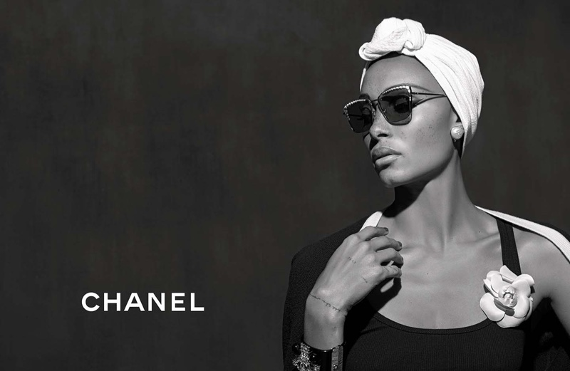 Adwoa Aboah models sunglasses in Chanel Eyewear's spring-summer 2018 campaign