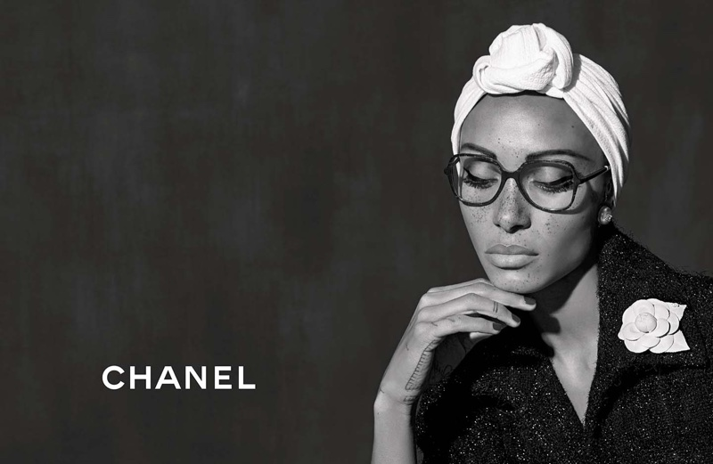 Adwoa Aboah wears optical frame in Chanel Eyewear spring-summer 2018 campaign