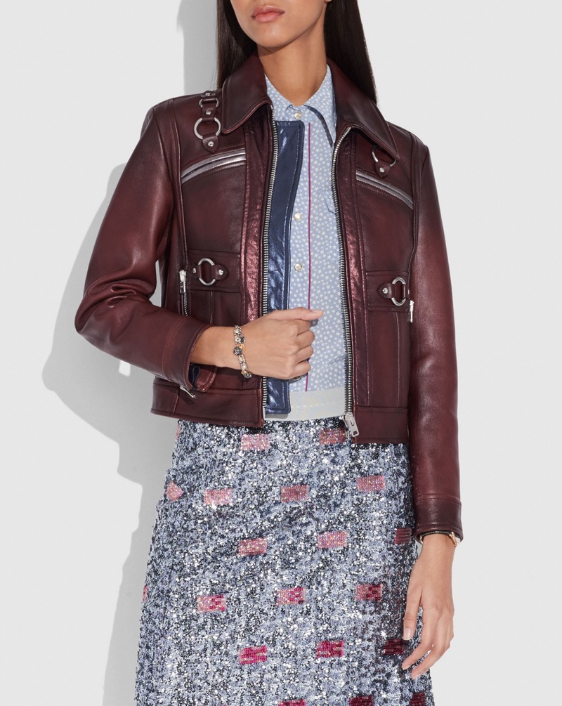 Coach Burnished Leather Jacket with Harness Detail $1,800