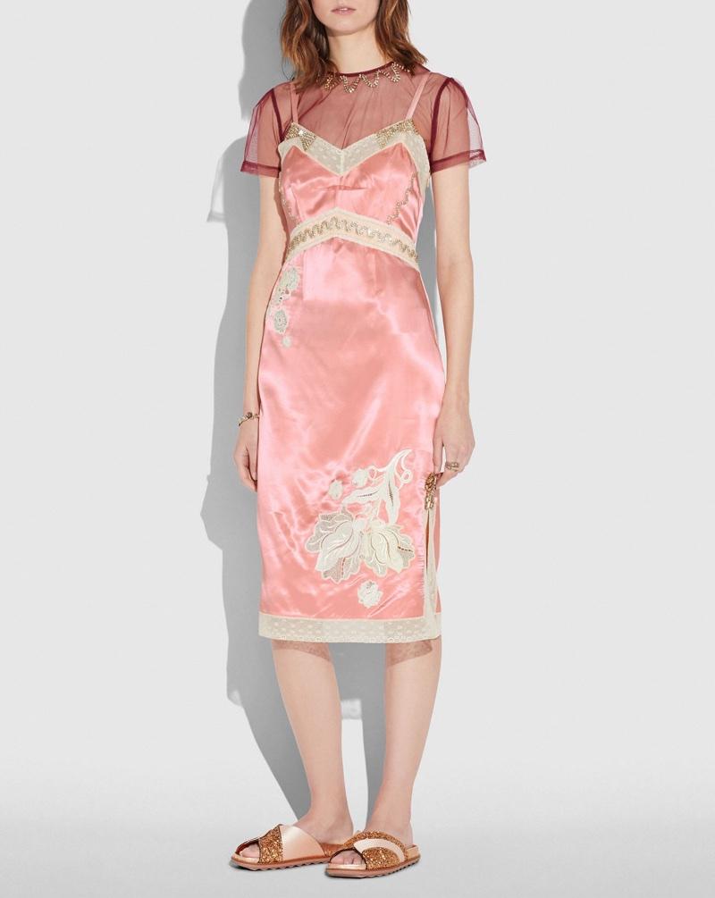 Coach Embellished Empire Slip Dress in Pajama Pink $995