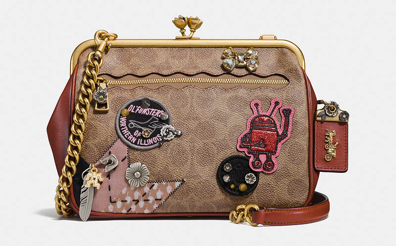 Coach Kisslock Crossbody Bag in Signature Patchwork with Snakeskin Detail $495