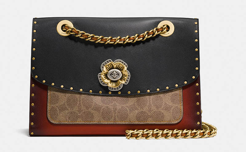 a5f775a4e8164 Coach Parker Bag with Border Rivets and Snakeskin Detail  450