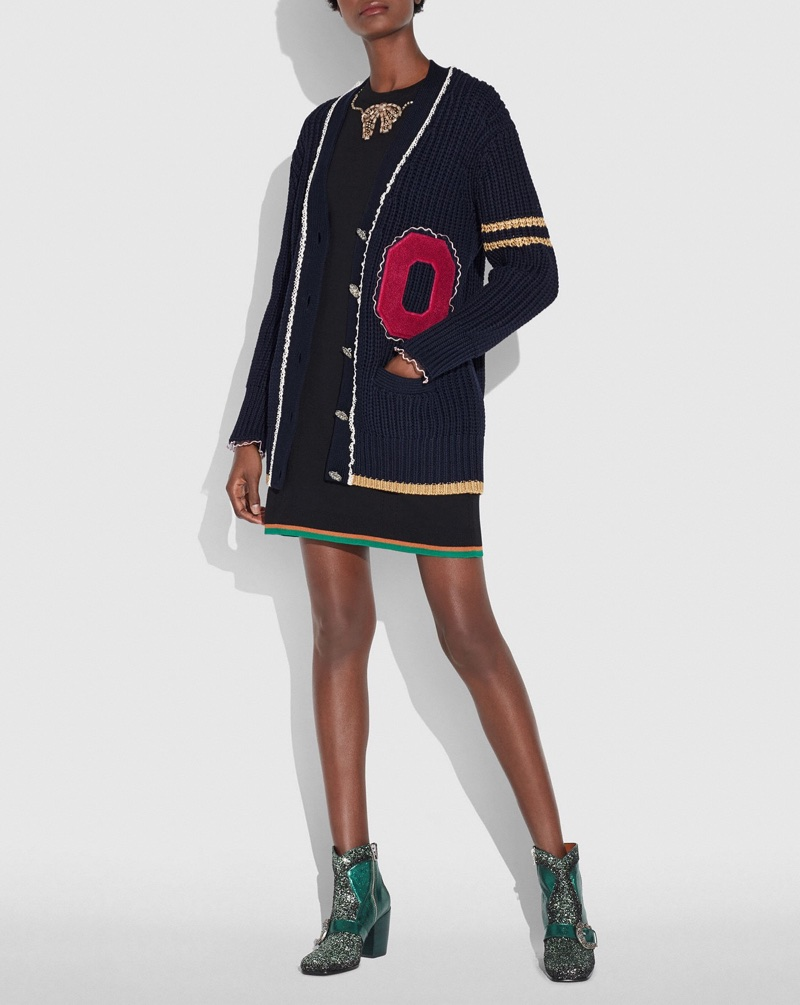 Coach Varsity Cardigan in Navy $850