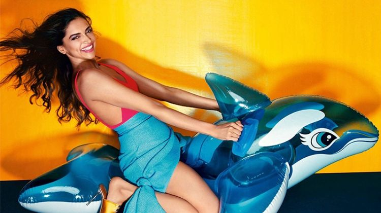 Posing on a pool toy, Deepika Padukone wears Topshop swimsuit, Edeline Lee skirt and Malone Souliers mules