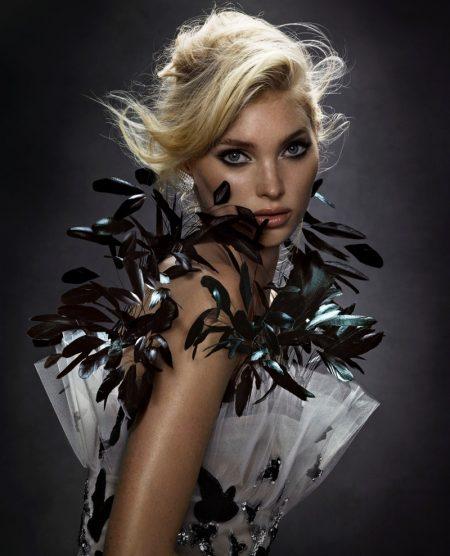 Elsa Hosk Models Fierce Feather Fashion for Harper's Bazaar