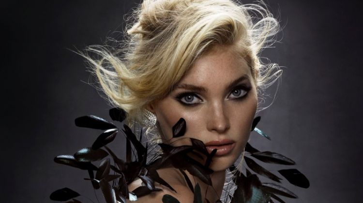 Elsa Hosk Models Fierce Feather Fashion for Harper's Bazaar