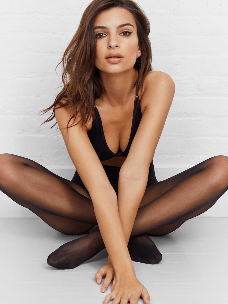 Model Emily Ratajkowski wears black lingerie set for DKNY Intimates spring-summer 2018 campaign