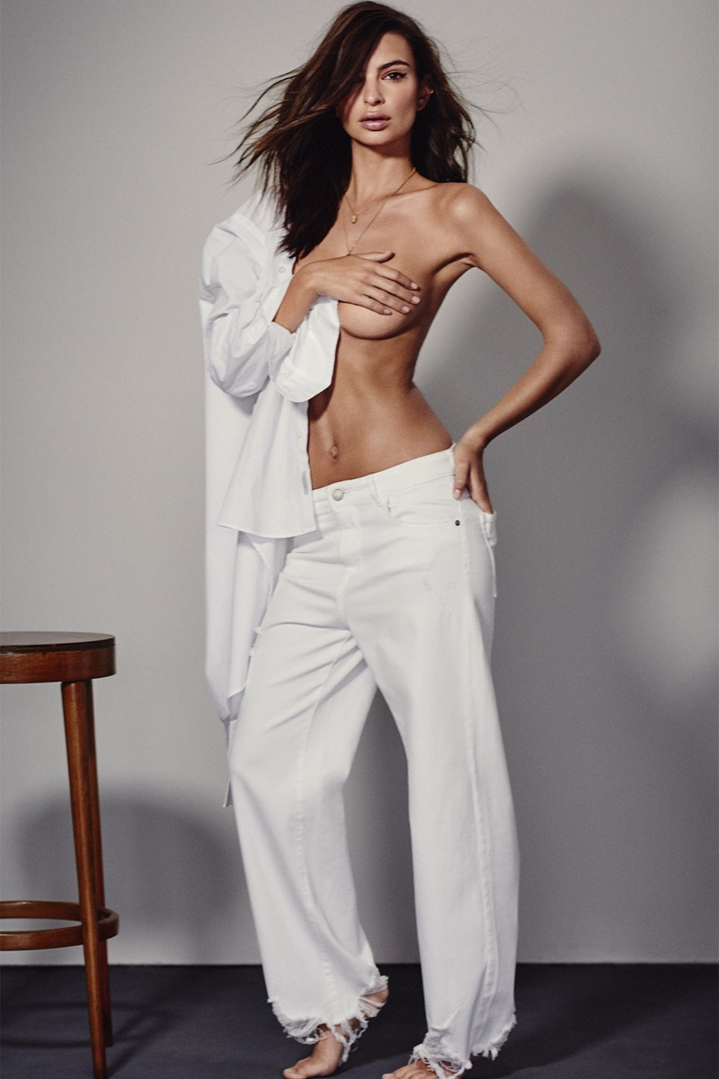 Emily Ratajkowski poses topless for DL1961's spring-summer 2018 campaign