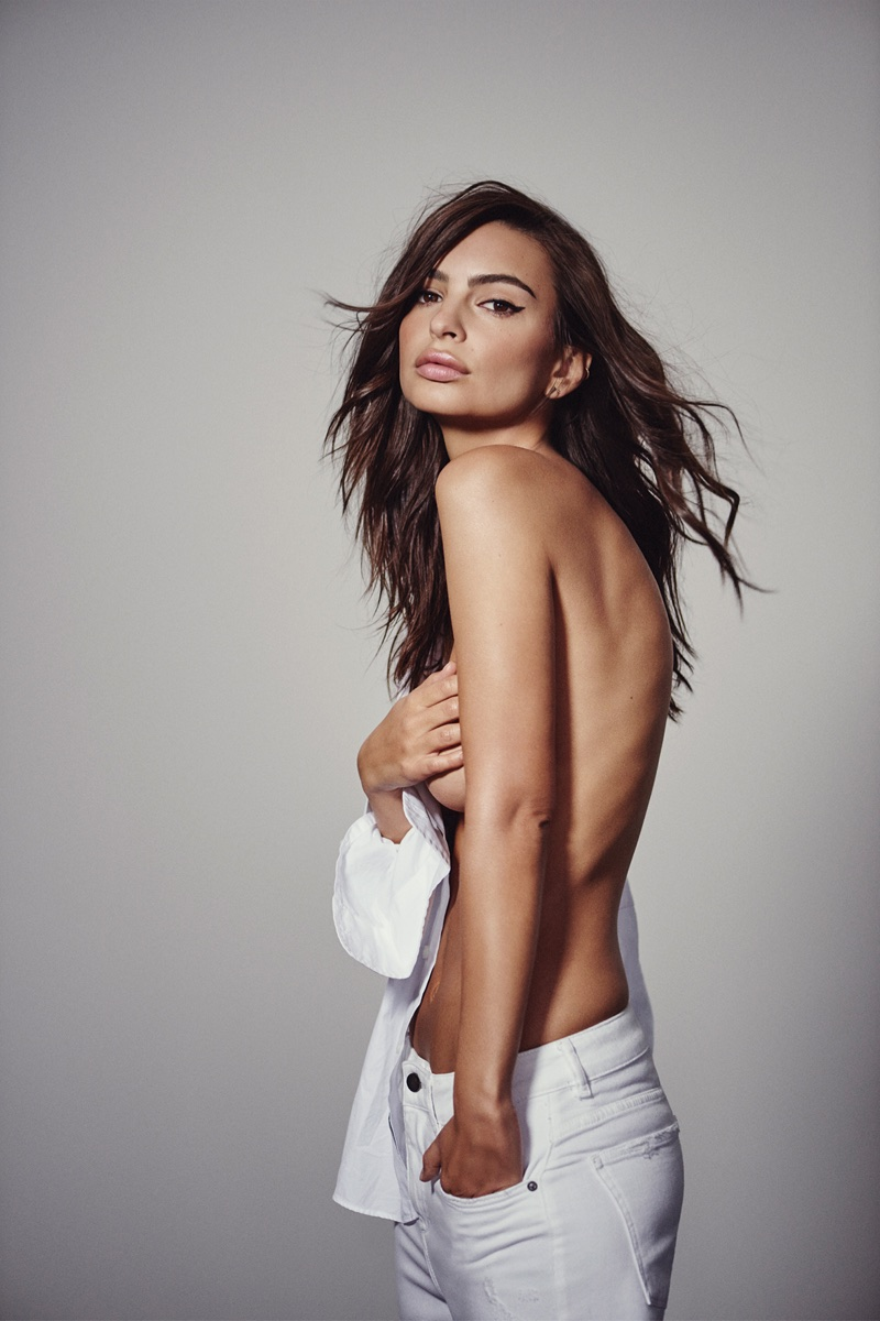 Posing topless, Emily Ratajkowski fronts DL1961 spring-summer 2018 campaign