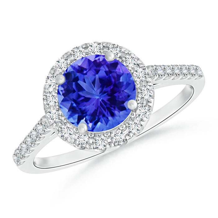Round Tanzanite Halo Ring with Diamond Accents from Angara