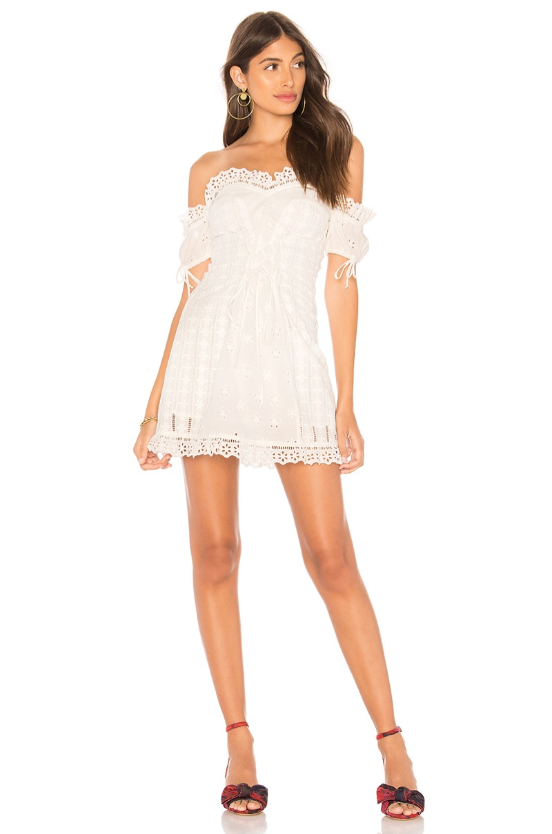 For Love & Lemons Anabelle Eyelet Lace Up Dress $211