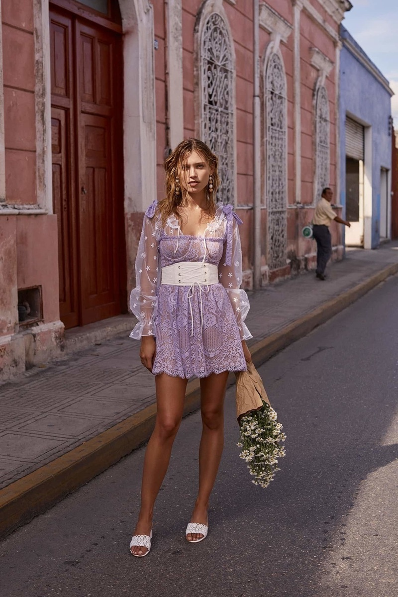 For Love & Lemons spotlights a purple dress in spring 2018 collection