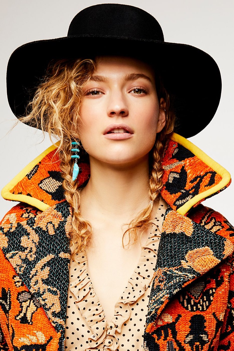 Free People Mosaic Boxy Moto Jacket, Smell the Roses Dot Top and Raw Stone Threader Earring Set