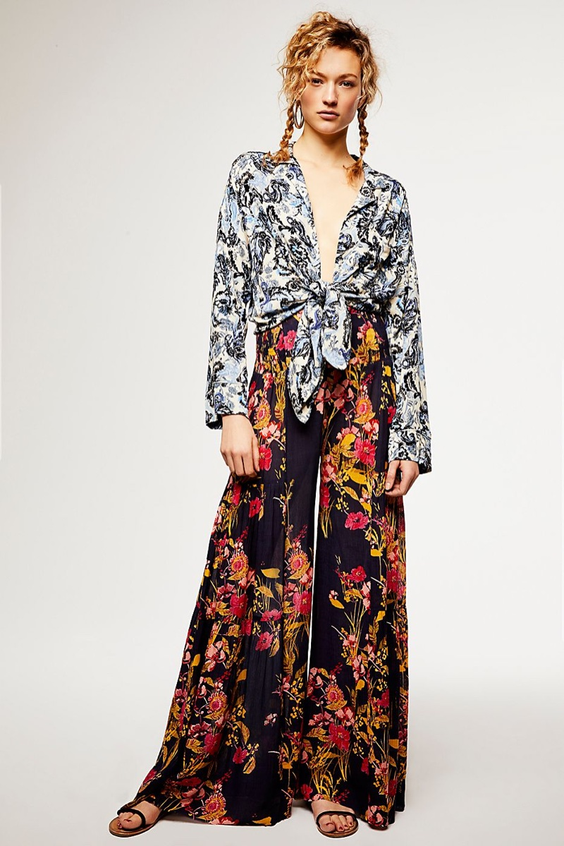 Intimately Free People Late Night Sleep Top and FP One Aloha Printed Wide Leg Pants