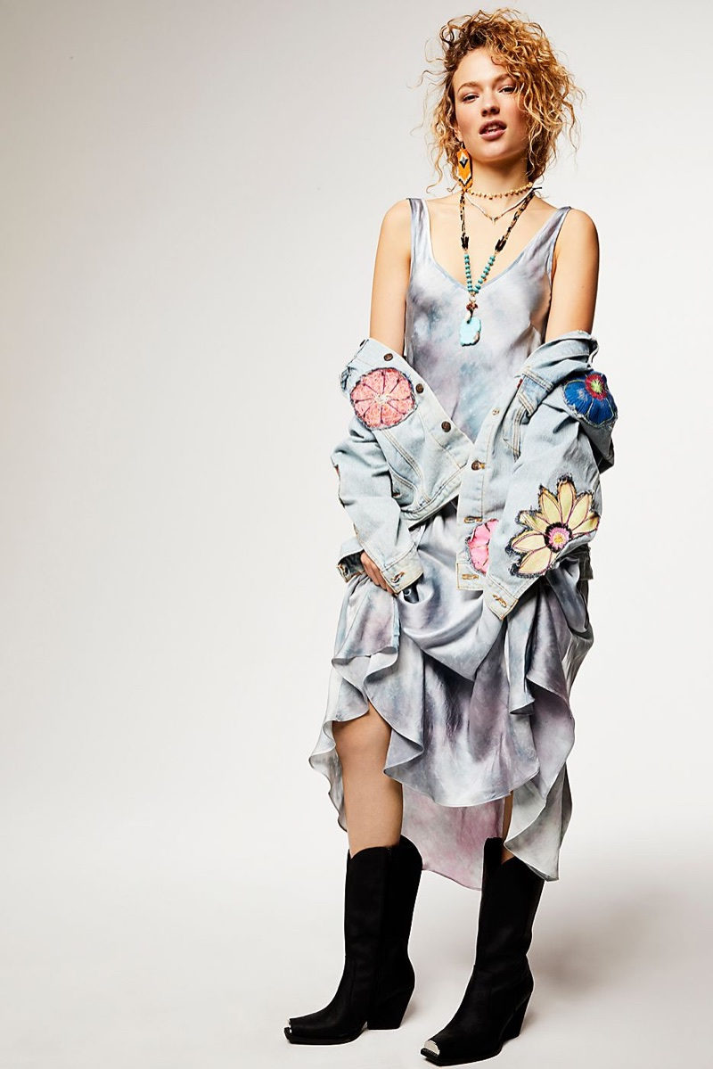 Upstate Palm Silk Maxi Dress, Rialto Jean Project Specialty Floral Denim Jacket and Jeffrey Campbell Manhattan Western Boot