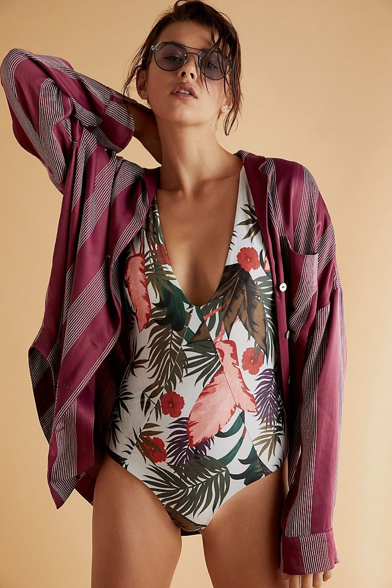 Stone Fox Swim Palma Printed One-Piece Swimsuit, Intimately Free People Fool Me Once Sleep Shirt and Free People Living in Color Aviator Sunglasses