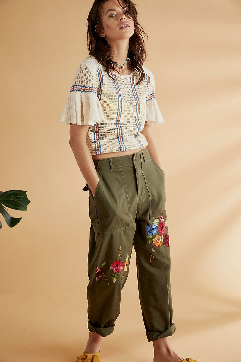 Free People Striped Babes Only Tee and Rialto Jean Project Embroidered Military Pant