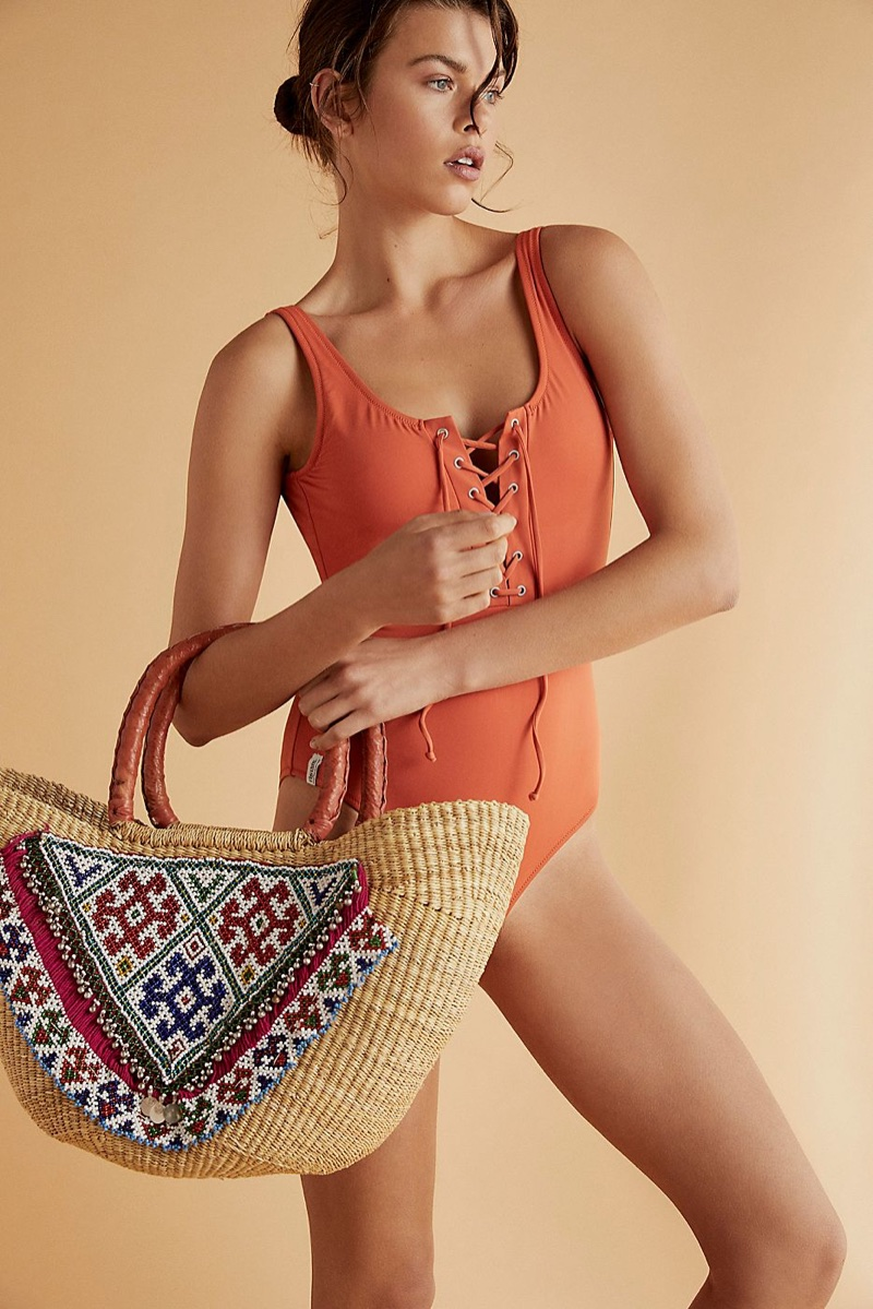 Rhythm Sunchaser Lace-Up One-Piece Swimsuit in Tangelo and Tricia Fix Sandy Shores Embellished Tote