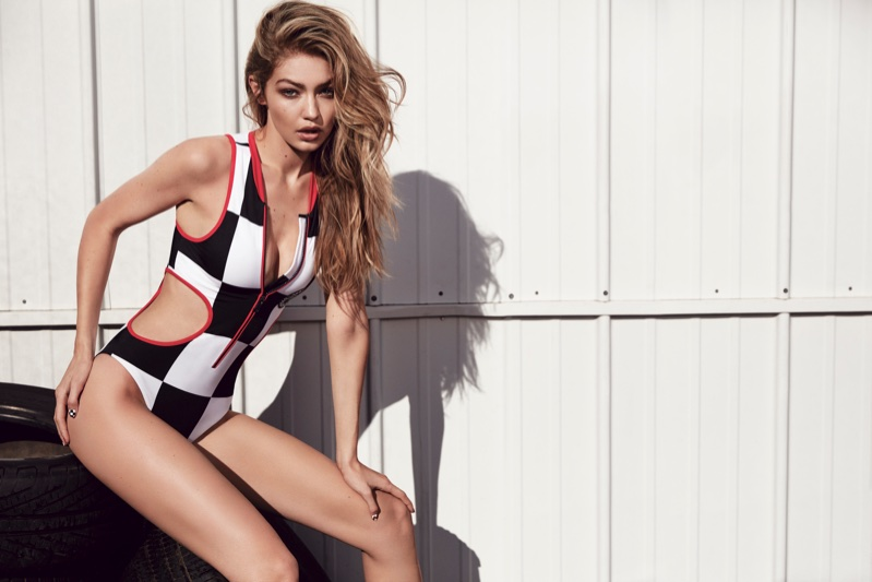 Wearing a bodysuit, Gigi Hadid appears in TommyxGigi spring 2018 campaign