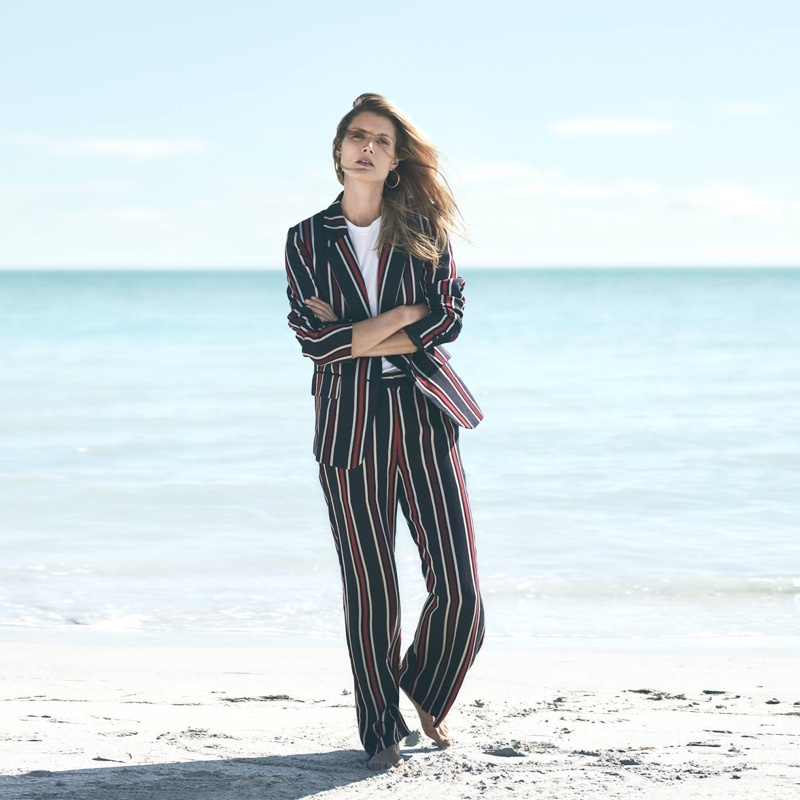 H&M Striped Jacket, T-Shirt, Wide-Leg Pants and Hoop Earrings