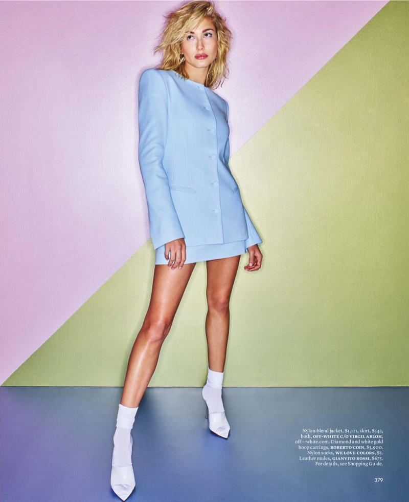 Hailey Baldwin Takes On Colorful 90's Style for ELLE