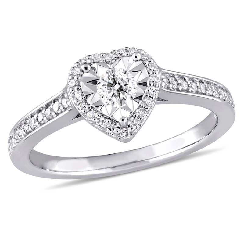1/3 CT. T.W. Diamond Heart Frame Engagement Ring in Sterling Silver from Zales