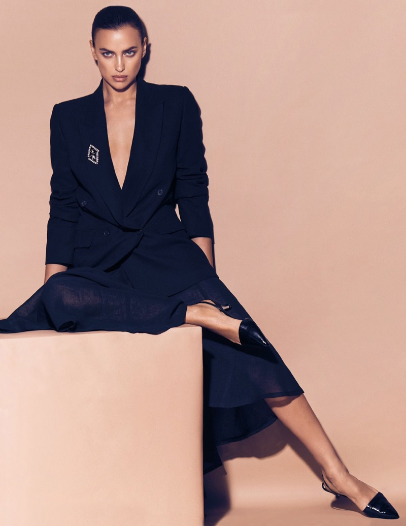 Irina Shayk Models Dark & Ladylike Styles for Vogue Arabia