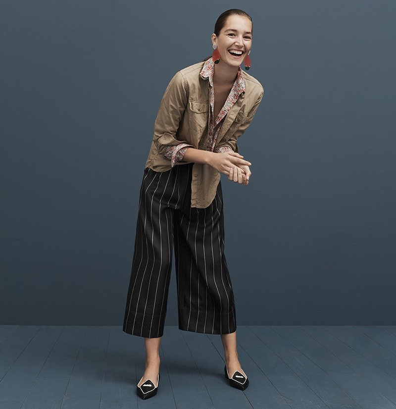 J. Crew Fatigue Oversized Boy Shirt, Classic Popover in Liberty Swirling Petals, Lucite Statement Earrings, Cropped Silk Pull-On Pant in Pinstripe and Two-Tone Pointed Toe Loafers