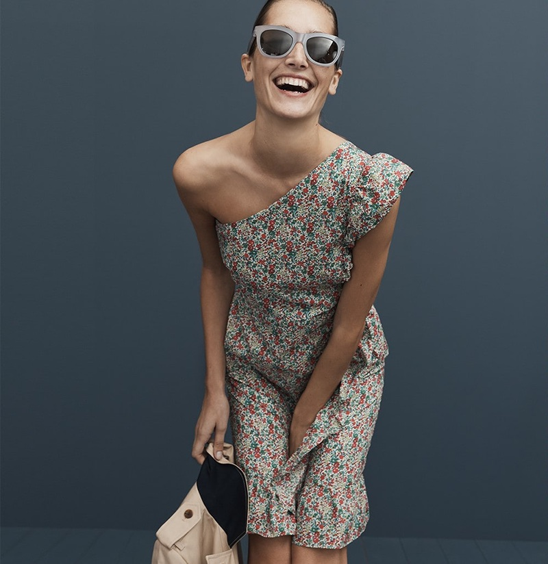 J. Crew Asymmetrical Ruffle Dress in Liberty Emma & Georgina Floral, Betty Sunglasses and The New Icon Trench Coat