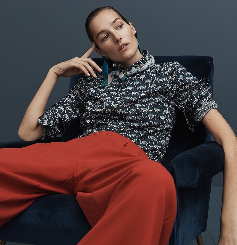 J. Crew Slim Perfect Shirt in Elephant Print, Wide-Leg Crop Pant in 365 Crepe, Bandana in Elephant Print and Lucite Statement Earrings