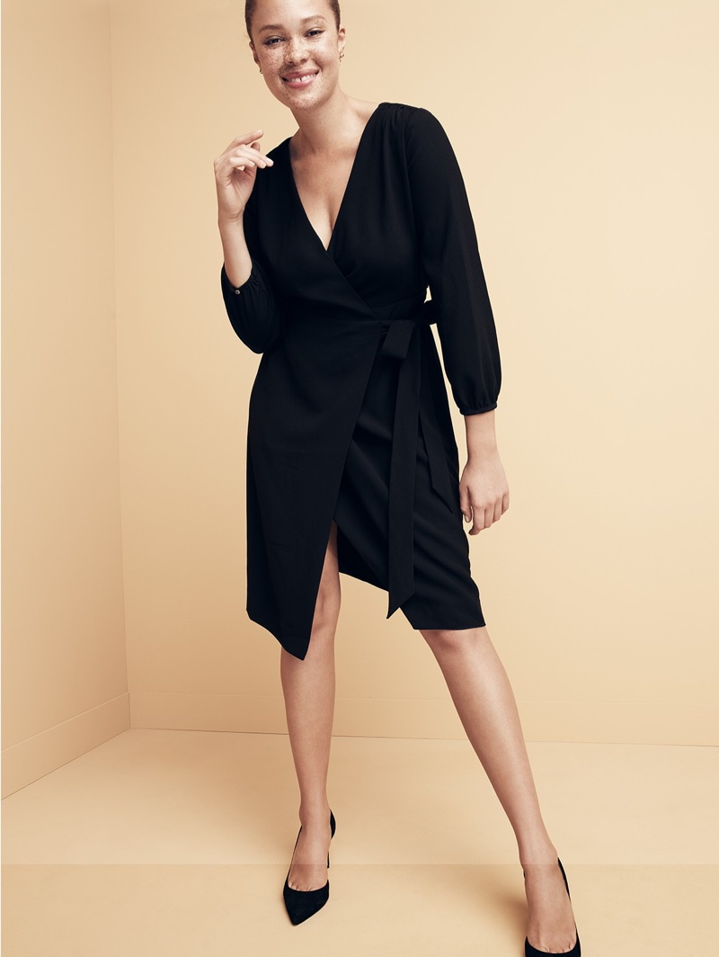 J. Crew Wrap dress in 365 Crepe and Lucie Suede Pumps