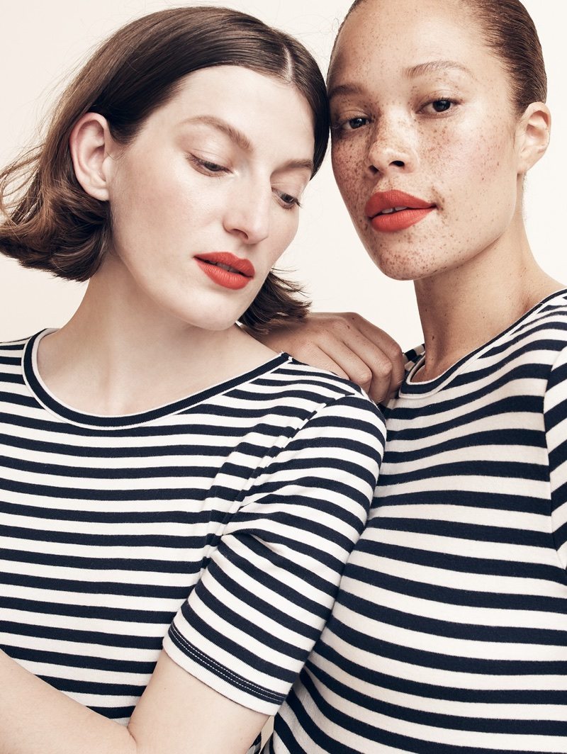 Models both wear J. Crew New Perfect-Fit T-Shirt in Stripe