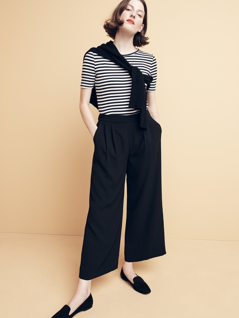 J. Crew New Perfect-Fit T-Shirt in Stripe, V-Neck Boyfriend Sweater in Everyday Cashmere and Suede Smoking Slippers