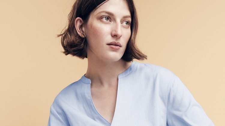 """J. Crew Wrap Top in Oxford and 9"""" High-Rise Toothpick Jean in Resin Wash"""