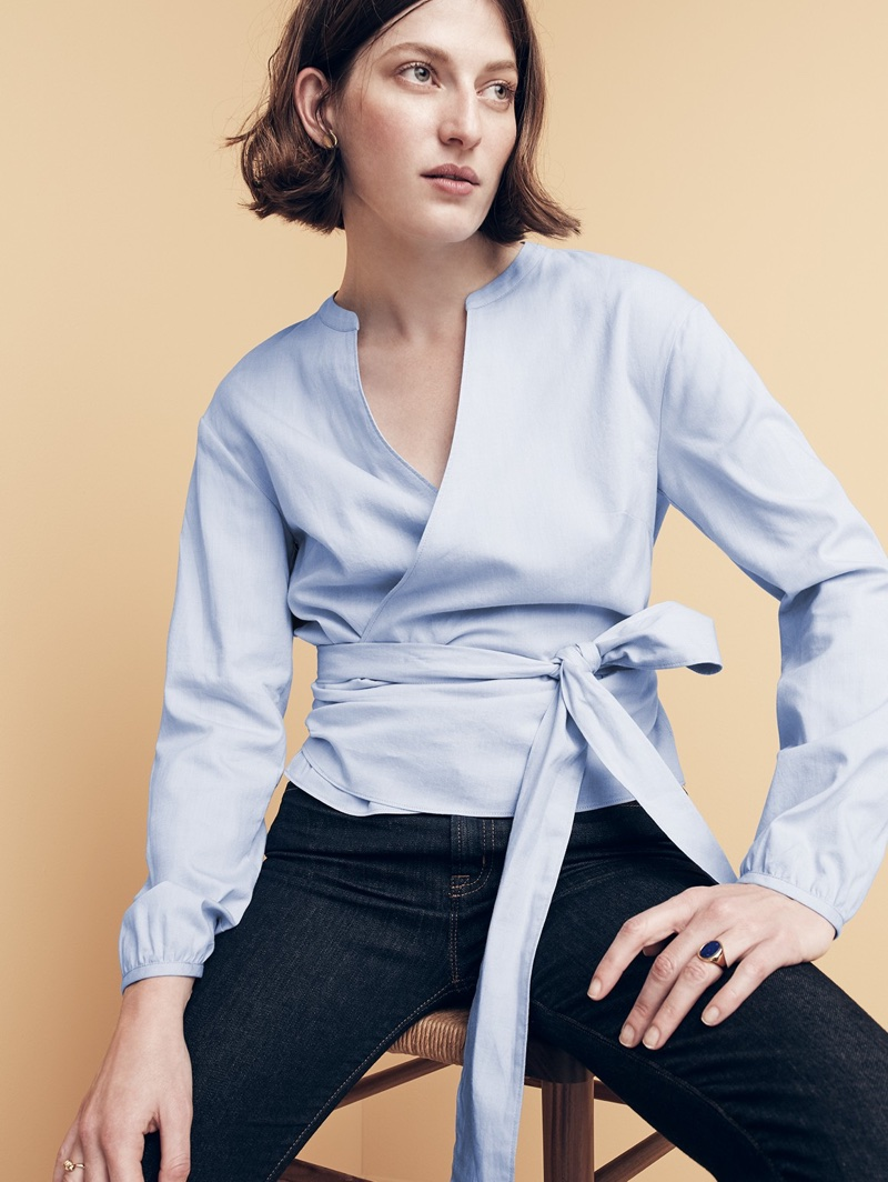"J. Crew Wrap Top in Oxford and 9"" High-Rise Toothpick Jean in Resin Wash"