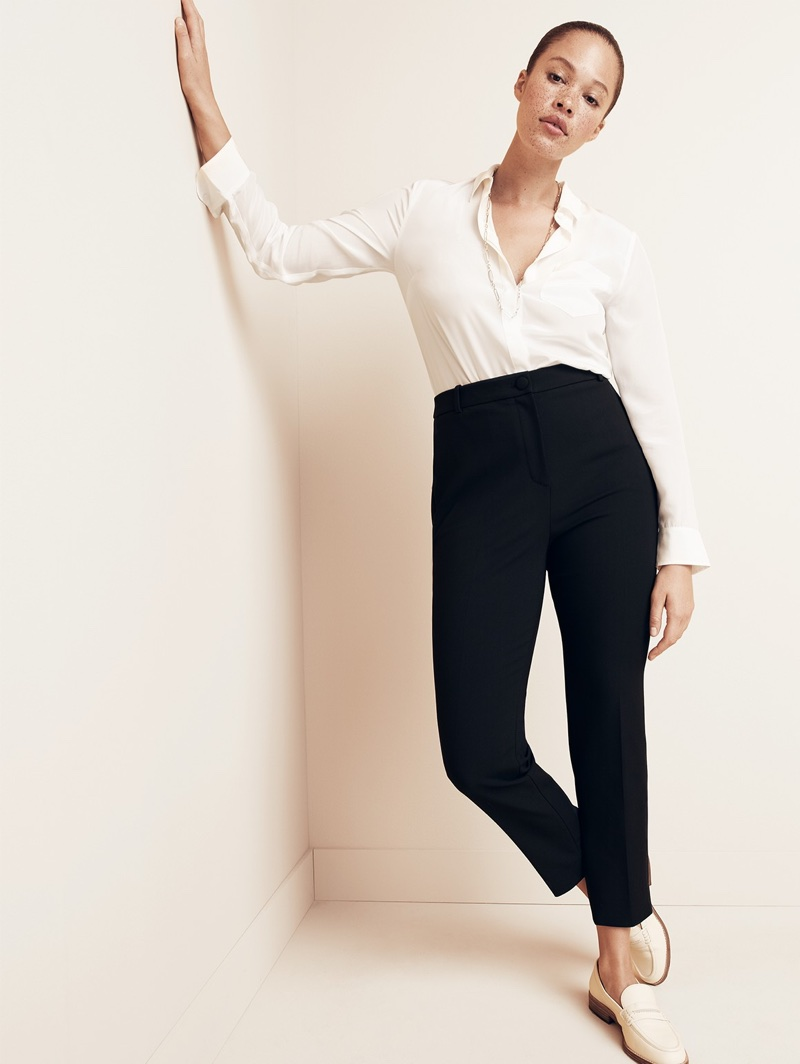 J. Crew Silk Button-Up Shirt, High-Rise Cameron Pant in Four-Season Stretch and Ryan Penny Loafers in Leather