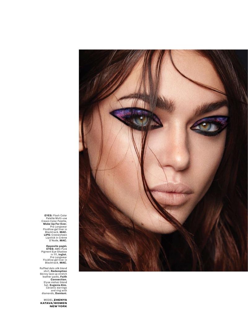 Zhenya Katava Models Eye-Catching Beauty Looks for L'Officiel Singapore