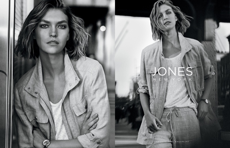 An image from Jones New York's spring 2018 advertising campaign with Arizona Muse