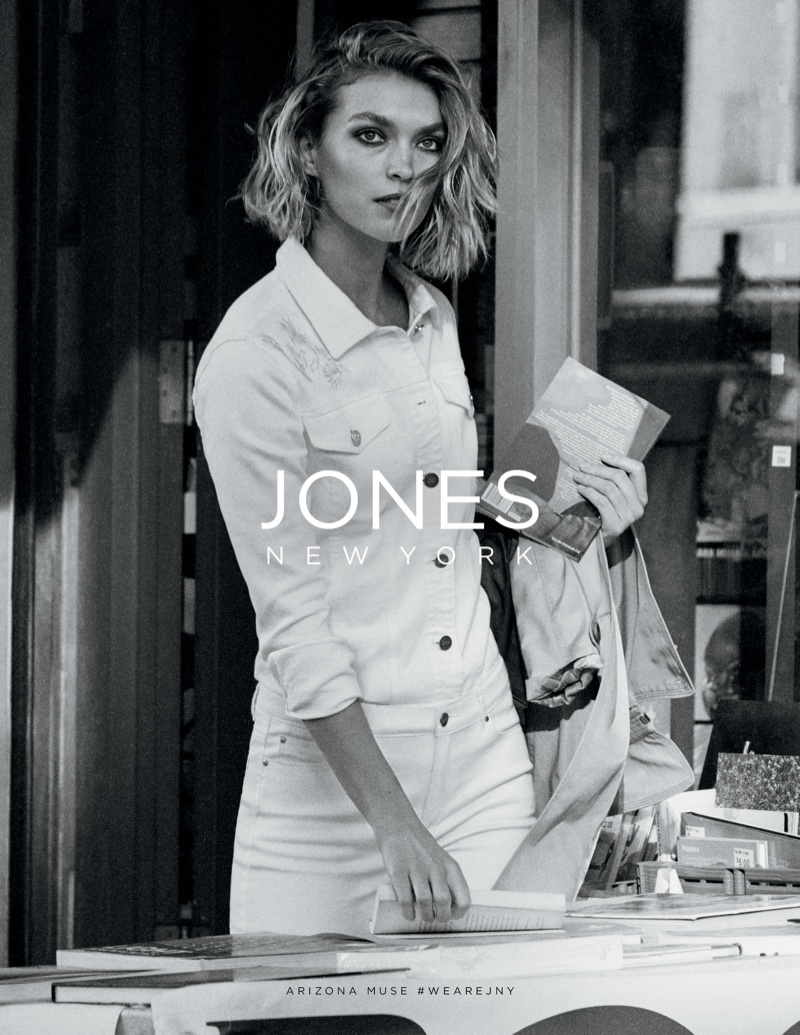 Model Arizona Muse poses in black and white for Jones New York spring-summer 2018 campaign