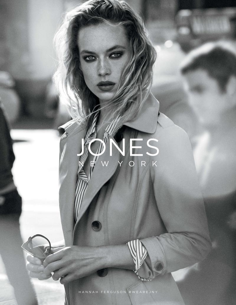 Model Hannah Ferguson poses for Jones New York's spring-summer 2018 campaign