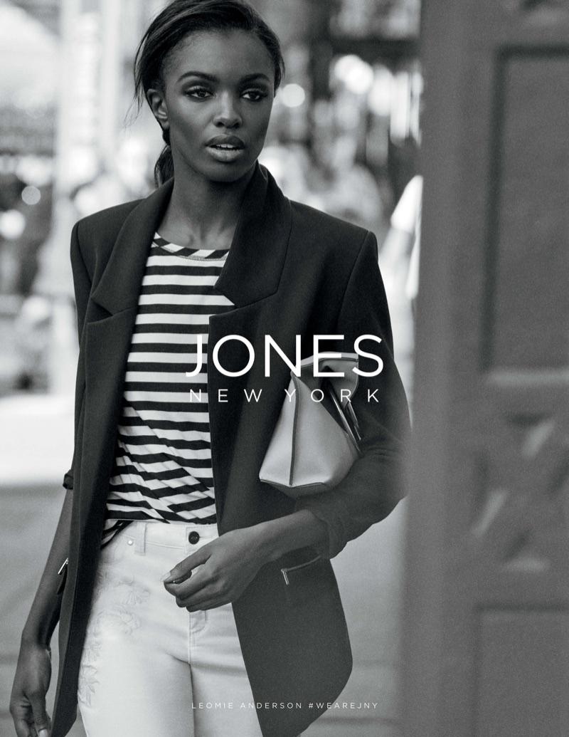 Model Leomie Anderson looks sharp in Jones New York's spring-summer 2018 campaign