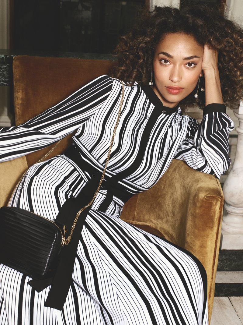 Model Anais Mali poses in striped dress for Karen Millen's spring-summer 2018 campaign