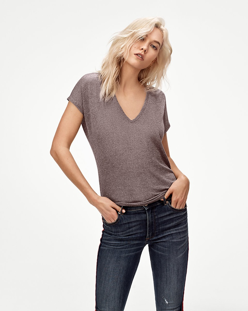 Karlie Kloss wears Express One Eleven Soft Knit London Tee