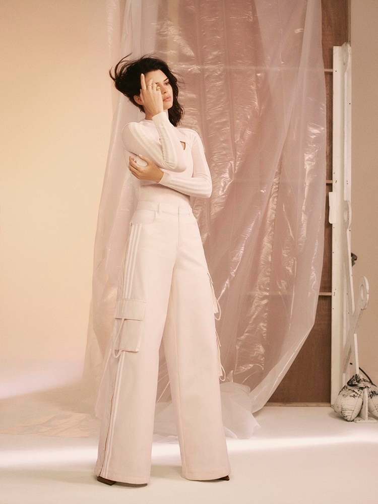 Model Kendall Jenner wears all white ensemble for adidas Originals by Daniëlle Cathari campaign